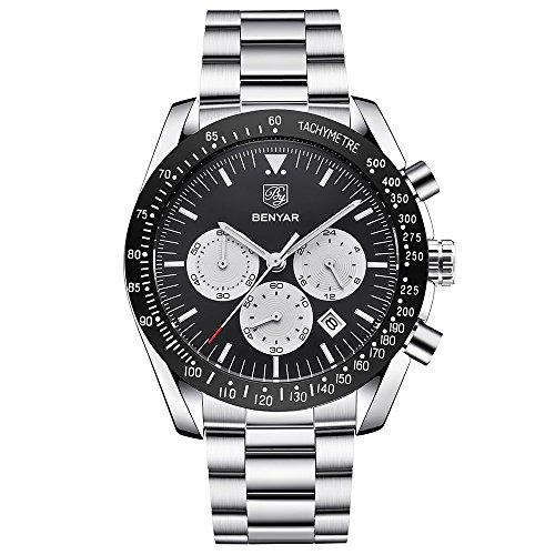 BENYAR Herren Uhren Chronograph Analog Quarzuhr Männer Wasserdicht Sport Armbanduhr Edelstahl Armband Schwarz Zifferblatt