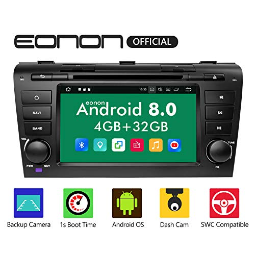 eonon Android 8 Indash fit Mazda 3 2004 2005 2006 2007 2008 2009 2Din 17,8cm LCD Touchscreen Car Indash Digital Audio Video Stereo Autoradio DVD GPS FM AM RDS DAB+ Bluetooth WiFi Headunit GA9151B (Mazda 3 Sound System)