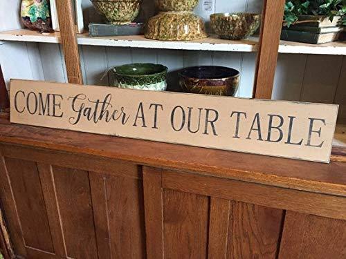 Monsety Come Gather at Our Table Dekoschild für Esszimmer, Landhausdekoration, handbemalt, mit Zitaten - Handbemalte Esszimmer