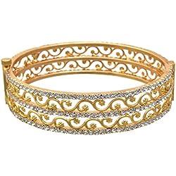 JFL- Austrian Diamond One Gram Gold Plated Designer Openable Kada for Girls and Women. Size- 2.6