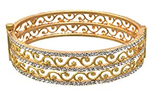 JFL - Jewellery for Less Austrian Diamond 1g Gold Plated Openable Kada for Women's