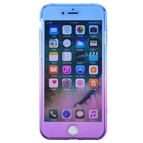 SMART LEGEND iPhone 7 Weiche Silikon Hülle Double Touch Case Komplette 360°Grad Vorne Hinten Beidseitiger Schutz Transparent Full Body Handytasche Front Back Doppelseitig Bumper Handyhülle Durchsichti Blau und Lila