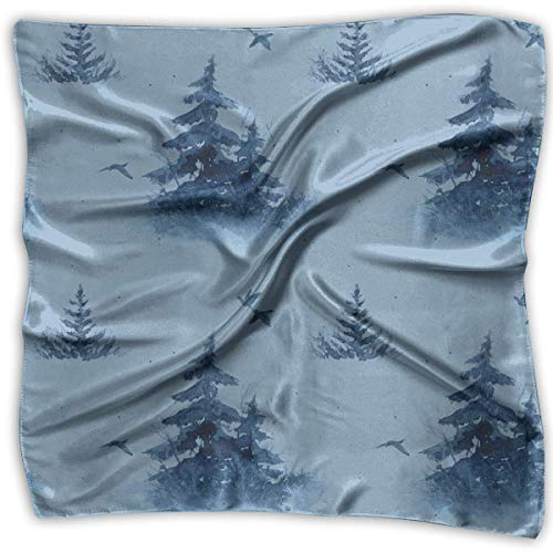 Firs Birds in Blue Tones Pattern Square Scarf - Women's Soft Silk 100% Polyester