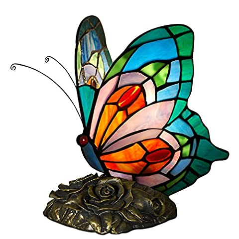 Arte dal Mondo Tiffany Style Butterfly Bedside Lamp, Glass, Multi-Colour, 21.5 x 15 x 17 cm