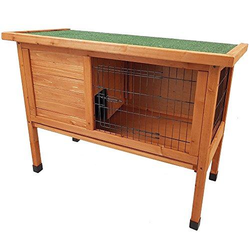 Hasenstall ZOTTEL 2 Kaninchenstall aus FSC Holz Kaninchenkäfig Hasenkäfig Käfig Stall Dach aufklappbar