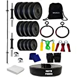 SPANCO Home Gym With Weight Plates 44Kg. (5 Kg. X 4 = 20 Kg. + 3 Kg. X 8 = 24 Kg.), Dumbell Rods, Straight Rod & Gym Gloves, Skipping Rope, Sweat Band, Hand Gripper Back Pack Bag, Roman Ring, Gym Towel & Gym Belt