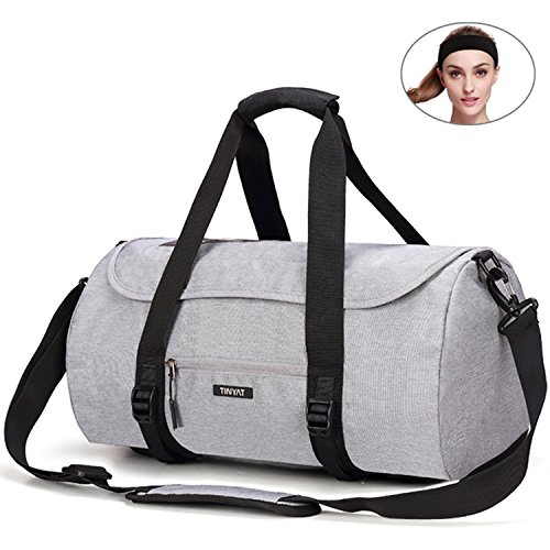 May\'s Urban Unisex Sporttasche Reisetasche Fitnesstasche Polyester 35L Große Kapazitäten Verschleißfest mit Kopfband Grau