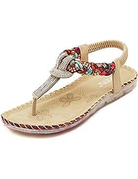 Minetom Damen Mode Sommer Sandalen Böhmischen Stil Schuhe Flacher Absatz Pantoffeln Neu