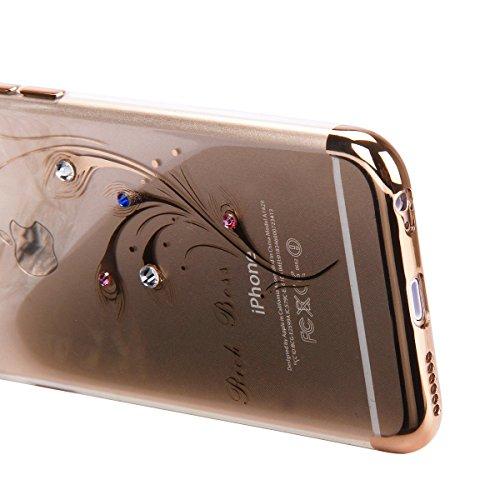 Etsue Glitzer Silikon Schutz HandyHülle für iPhone 7 Überzug TPU Hülle, Luxus Kristall Glitzer Glanz Sparkles Strass Diamant Crystal Clear Schutzhülle Silikon Bumper Anti-Scratch Handytasche, iPhone 7 Golden,Blume Blatt