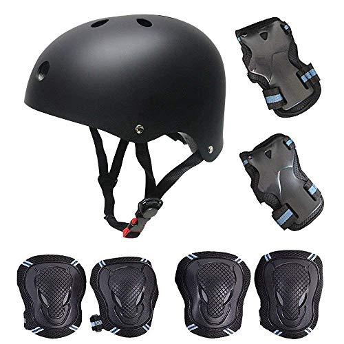 Kinder Scooter Helm, Skates Schützerset, Hoverboard BMX Bike Helm, Handgelenkschutz, Knieschoner, Ellenbogenschoner,Protektoren Pads und Skates Helm