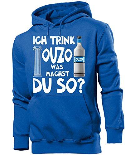 Golebros Ich Trink Ouzo was Machst du so 4923 Saufen Bier Herren Hoodie Blau L Was Herren Sweatshirt