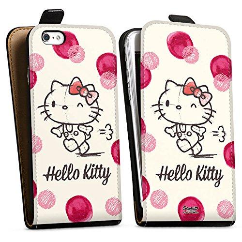 Apple iPhone X Silikon Hülle Case Schutzhülle Hello Kitty Fanartikel Merchandise Pünktchen Downflip Tasche schwarz