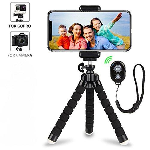 iPhone Stativ,Handy Stativ,Flexibel Halterung Kamera Stativ Mini Dreibeinstativ Reisestativ mit Bluetooth Fernbedienung für Iphone, Android Phones, Kameras, und GoPro (Kamera-handy)