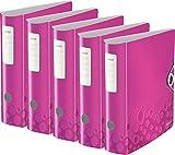 5er Pack Leitz WOW Multifunktions-Ordner (A4, Runder Rücken 8,2 cm Breite, Gummibandverschluss, Kunststoff) pink metallic