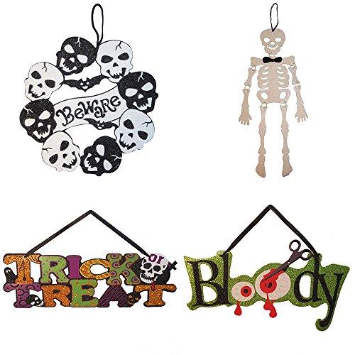 Native Spring 4er Kürbisse Skulls Kranz Spooky Beware Scary Glitzer Skelett Ghost Hängedeko Value Pack Best für Halloween Haunted House Party 4-pk Skulls Bundle