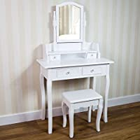 Home Nishano Dressing Table With Stool Drawer Oval Adjustable Mirror Bedroom Set Makeup Cosmetics Dresser Furniture