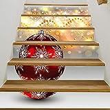 Katylen Westlichen Stil Kreative Wand Dekoration Selbstklebende Wasserdichte Treppe Aufkleber Hq014 Weihnachten Glocke Muster PVC Material Wandbild 100 cm * 18 cm * 6 Stücke,Wie Zeigen,Einheitsgröße