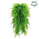 JUSTIDEA Künstliche Hängepflanzen 2 Pcs Efeu Künstlich Hängend kunstpflanzen Farn Plastikpflanzen für Draussen Hochzeit Garten Balkon