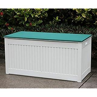 AQS INTERNATIONAL 290L Plastic Storage Box Chest Outdoor Garden Utility Cushion Shed Tidy Tool Box Size 53.7 x 107 x 51.3 (Green)