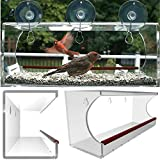 Grande mangeoire à oiseaux pour fenêtre, mangeoire transparente à montage sur fenêtre Installation facile, crochets inclus, facile à remplir ou à nettoyer, résiste aux écureuils et vous rapproche des animaux ! Inclut désormais des trous pour le drainage. Meilleur rapport qualité-prix...