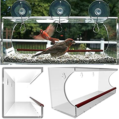 Large Window Bird Feeder, Clear Window Mount See Through Feeder. Effortless Install & Included Hooks Make it Easy To Refill Or Clean, Virtually Squirrel Resistant, Brings Wildlife To You! Now Includes Drain Holes. Best