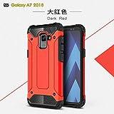 SRY-1 Estuche rígido resistente a prueba de choques de la armadura híbrida resistente dual de la capa + TPU para el Samsung Galaxy A7 2018 ( Color : Red )