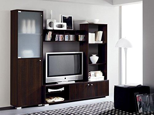 Mueble salon comedor modular con vitrina de cristal 200x180, color wengue