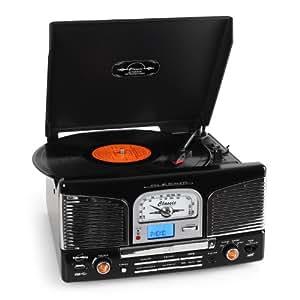 Inovalley Retro 03 Black Retro Styled HiFi Music System, FM Radio, Vinyl Record Player & CD Player (MODEL with MP3 usb stick recording & playback)