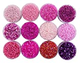 #9: Eshoppee Pink and Purple Color Glass Seed Bead, Cut Beads Jewellery Making Material kit, Craft Material for Embroidery Size 11/0 (20gm x 12 Box)