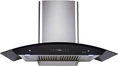 Elica 90 cm 1200 m3/hr Auto Clean Chimney (WD HAC TOUCH BF 90 SS, 2 Baffle Filters, Touch Control, Steel/Grey)