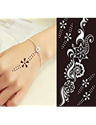 Mehndi Tatouage Pochoir pour le corps Mehndi Tatouages au henné - à usage unique S235 - pour tatouage au henné, tatouage paillettes et aérographe tatouage