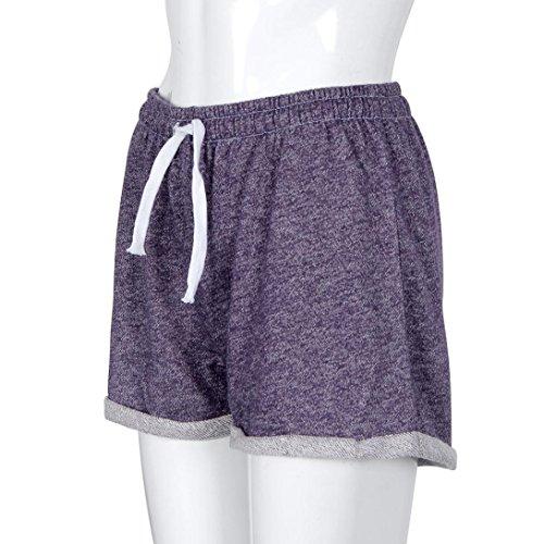 Shorts de Plage, Ineternet Femmes Sexy Été Polyester Casual Shorts taille haute Cordon de serrage Pantalons Violet