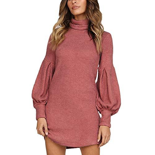 Susenstone Tricoté Col Roulé Pull Femme Hiver Pas Cher A La Mode Tops Chemisier Sexy Manche Longues Robe Pull Col Roulé Femme Sweater (XL(EU40), Rouge)