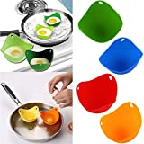 HENGSONG 4PCS Egg Poacher Silicone Cooking Perfect Poached Eggs Molds