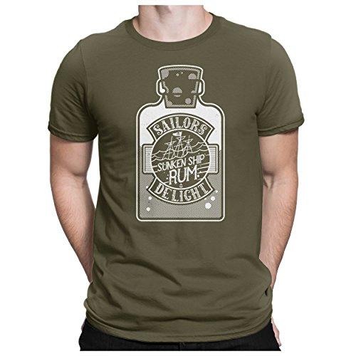 PAPAYANA - Rum - Herren Fun T-Shirt Bedruckt Sailor Gesunkenes Schiff - 4XL - Oliv -