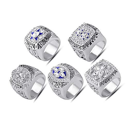 INSTO Ringe Sport Fans Sammlung Ring Herren Hoch Qualität Legierung Ring Champion Ring 5-Teilig Einstellen Perfekt Geschenk/Silber / 10ºÅ