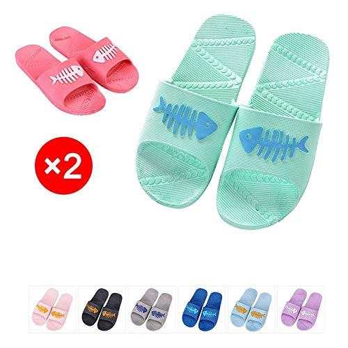 YUSHICYzgl Slide Sandalen 2 Stück - Süßes Fishbone-Muster, Hausdusche Hausschuhe, Outdoor-Strandschuhe (Size : 39+45)