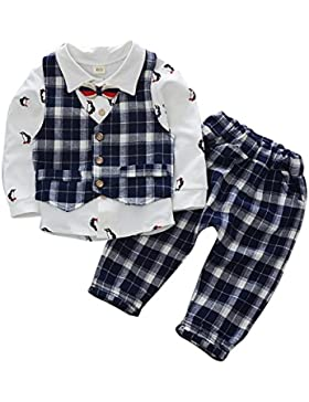 Baby Boy Suit Gentleman Party Wedding Outfit Camiseta de manga larga con Bowtie y Lattic Chaleco y pantalón Conjunto...