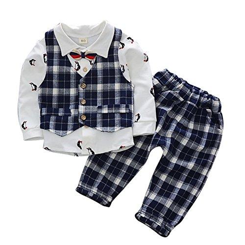 ESHOO Baby Jungen Formal Outfit Langarm Plaid Bowtie Shirts + Weste + Hosen Gentleman Suit