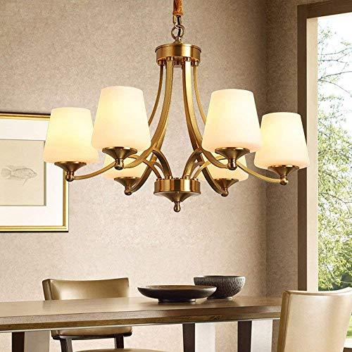 Cwill American Retro Kupfer Led Kronleuchter Beleuchtung Esszimmer Led Anhänger Kronleuchter Lichter Foyer Hängen Leuchten, 6 Lichter -