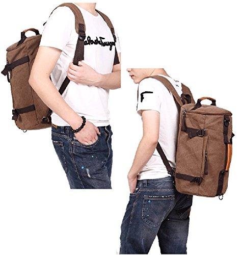 Outdoor peak Herren Jungend hochwertige Canvas Tasche Schulrucksack Sportrucksack Trommel-tasche modisch Fitness-Rucksack Umhängetasche praktische Reisetasche Büchertasche Braun