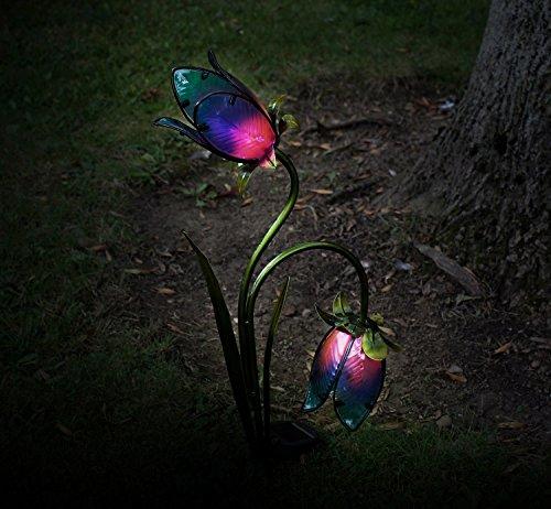 Unbekannt Solarbetriebene Twin Flower Garden Light Stake Lampe handbemalt Glasblumen