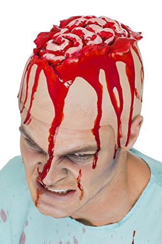 Gehirn Latex (Offenes Gehirn Horror Latex Mütze rot haut)