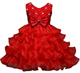 Eudolah Girl's Dress with Ruffles in Tulle wit Pearl for Evening Ceremony