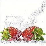 Artland Qualitätsbilder I Glasbilder Deko Glas Bilder 20 x 20 cm Ernährung Genuss Lebensmittel Obst Foto Rot A6WC Erdbeeren mit Spritzwasser