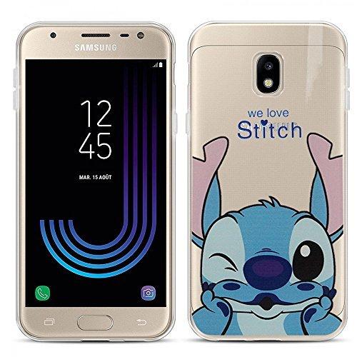 TPU transparent Ultrafein Muster Zeichentrick- jolie Thema Weihnachten für Samsung-Galaxy J3 (2017) J330F/ds/ J330G/ds/ J3 Pro (2017) - Stitch (Brief-verfolgung)