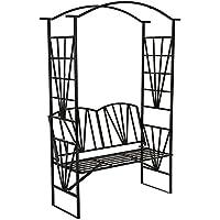 TecTake Arco de metal para rosas Arco de jardín Plantas con banco pérgola banco jardin