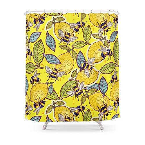 Renfengchui Gelbe Zitrone Und Bienengarten. Duschvorhang Wasserdicht Polyester Stoff Badezimmer Dekoriert Multi-Size Bedruckte Duschvorhänge 180 X 180 cm (Zitrone Duschvorhang Gelb)