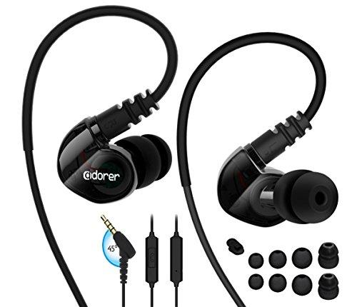 Adorer Sport Kopfhörer RX6 In-Ear Stereo Ohrhörer mit Mikrofon Kabelgebundene Headset für iPhone, iPad, Samsung, Huawei, Android und mehr - - Schwarze Kopfhörer Mit Mikrofon