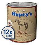 Hopey's Nassfutter Pferd mit Kartoffeln & Leinsamen: Hundefutter mit hohem Fleischanteil 12x 850g Dosen, 86% Fleisch